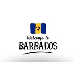 Welcome to barbados country flag logo card banner vector