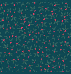 winter seamless pattern with holly berries vector image