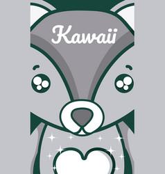Wolf cute kawaii cartoon vector