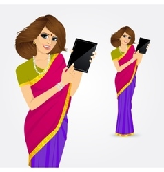 woman showing tablet screen vector image