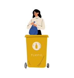 woman throwing plastic waste into garbage vector image