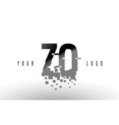 zo z o pixel letter logo with digital shattered vector image