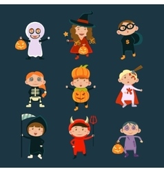 Children Wearing Halloween Costumes vector image