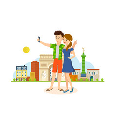 couple in love travel to paris make selfie vector image vector image