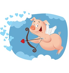 Cupid Pig Funny Cartoon vector image vector image
