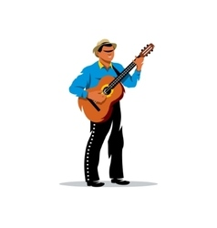 Latino musician with guitar Cartoon vector image vector image