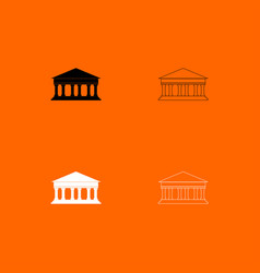 Bank building black and white set icon vector