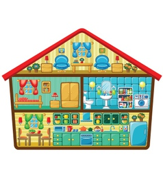 Cartoon house in a cut vector image