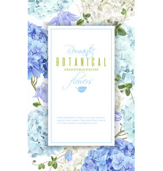 hydrangea frame blue vector image