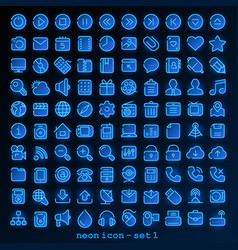 neon line icon - set 1 vector image vector image