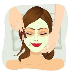 Beautiful woman with cosmetic mask on face vector image