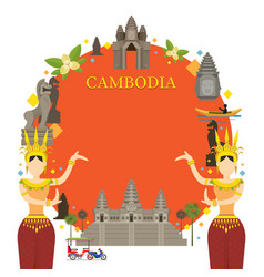 Cambodia landmarks traditional dance frame vector