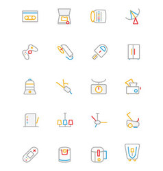 Electronics and devices colored outline icons 7 vector