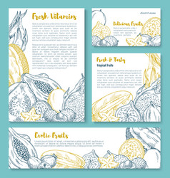 Exotic tropical fruit poster template design vector