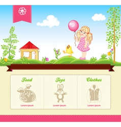 Kid template for web site vector image vector image