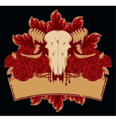 Skull sheep roses vector