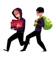 thieves robbers stealing physical money and vector image
