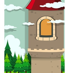 Castle tower and pine trees vector