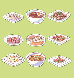 chinese cuisine dishes isolated labels vector image