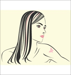 Girl with a tattoo vector image