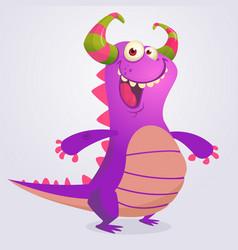 happy cartoon violet dragon vector image vector image