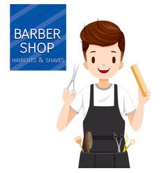 Man hairdresser with barber shop equipment vector