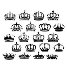 Royal medieval heraldic crowns set vector