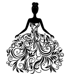 silhouette of young woman in dress vector image vector image