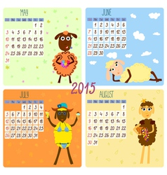 2015 calendar with cartoon and funny sheep summer vector image