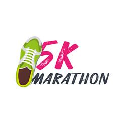 5k marathon run event with sneakers vector