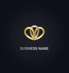 abstract pin colored company gold logo vector image