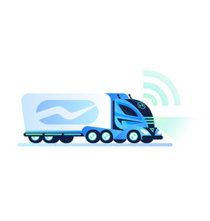 autonomous self-driving truck on white background vector image