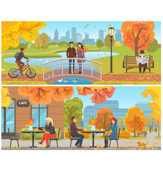Autumn park and relaxing resting people set vector