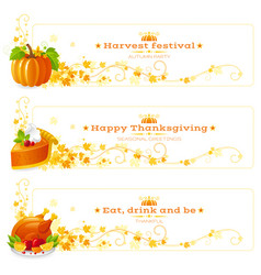 Autumn thanksgiving holiday food banner set vector