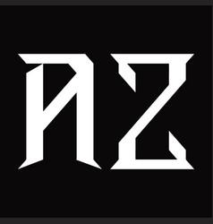 Az logo monogram with slice shape design template vector