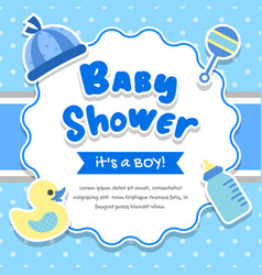 Baby shower boy frame background vector