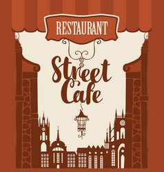 banner for street cafe in old city vector image