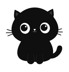 black cat kitten kitty icon cute kawaii cartoon vector image