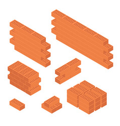 Brick set and wall isometric view vector