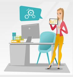 businesswoman presenting report on digital tablet vector image