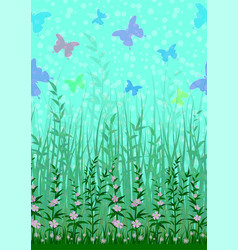 butterfly grass and flowers vector image