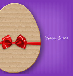 cardboard easter egg with bow vector image vector image