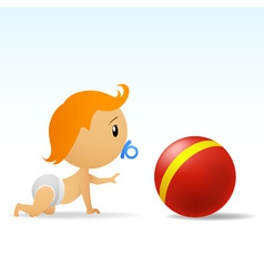 Cartoon cute baby crawling to red ball vector
