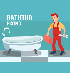 Cartoon male plumber with wrench tool at bathroom vector
