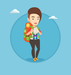 Cheerful traveler with backpack vector