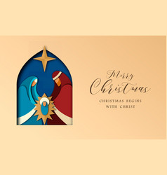 Christmas paper cut card of jesus and holy family vector