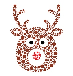 Christmas reindeer rudolf icon made of circles vector
