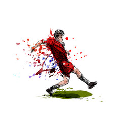 colored hand sketch soccer vector image