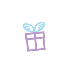 creative flying gift box logo vector image