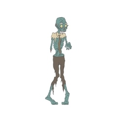 Creepy Zombie Wearing Tie Outlined Drawing vector image
